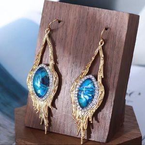 NWOT Alexis Bitter Blue Stone Gold Tassels Earring